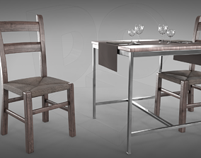 3D PBR blender Restaurant table plus cutlery and chairs