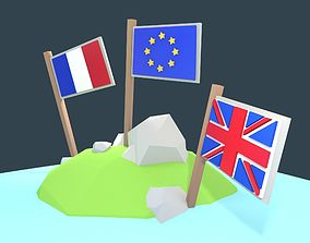 Stylized low poly flags - Exit EU Package 3D asset