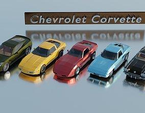 3D asset Chevrolet Corvette generations - lowpoly set x 5