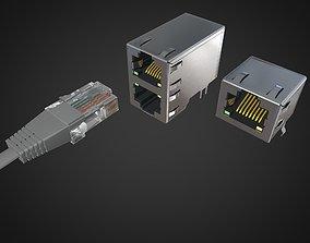 3D plug Ethernet socket Connector RJ45 F