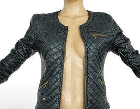 3D model Jacket Black Leather Padded Open Women Clothing
