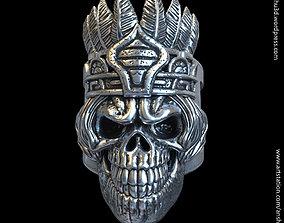 3D print model tribal skull vol1 ring jewelry