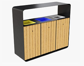 HANKO Outdoor Waste Recycling Bin with 3 Removable 3D