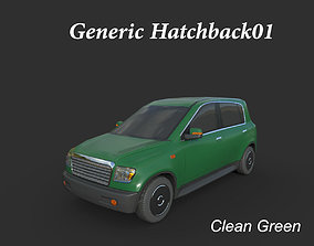 3D asset Generic Hatchback 01 Clean Green