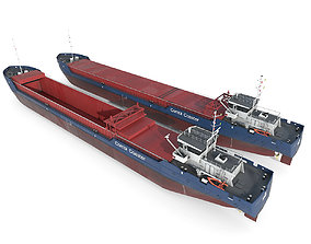 General Cargo Ship open and closed 3D