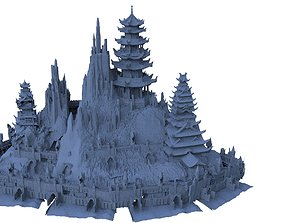 Island fortress Chinese Architecture Full 3D model
