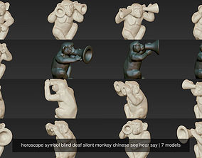 horoscope symbol blind deaf silent monkey chinese see 3D 1
