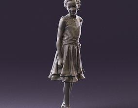 000979 makeuped girl in blue dress 3D Print Ready