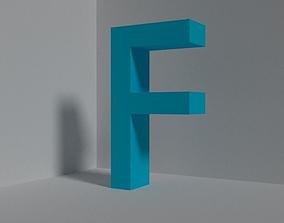 3D asset Letter F - font