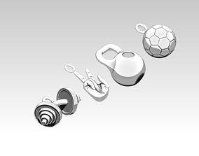 Pendant jewel Sport set Barbell 3D printable model 4