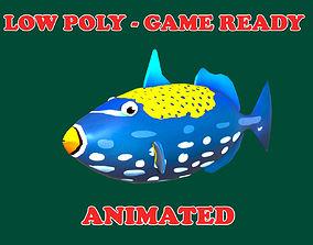 3D asset Low poly Clown Trigger Fish Cartoon Animated - 1