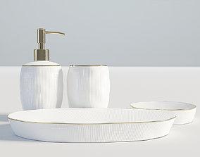 3D model Bathroom Set White and Gold 2