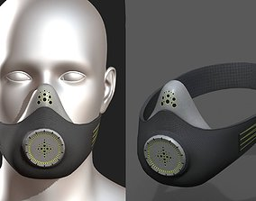 low-poly Gas mask helmet 3d safety isolated fantasy