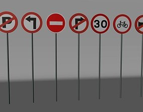 3D asset Traffic Signs Lowpoly