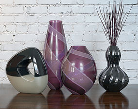 Purple Vases Set 3D