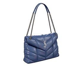 3D model YSL Saint Laurent Loulou Puffer Bag Blue Leather