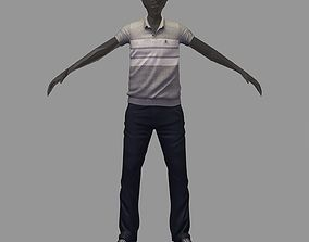 3D model avatar casual set grey polo darck pants