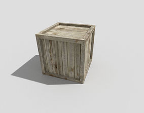 3D model low poly wooden crate