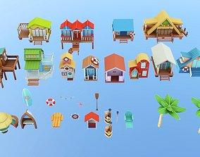 Stylized Cartoon Beach Houses Pack 3D asset