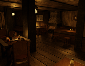 Medieval Tavern Only One Room GameReady 3D asset