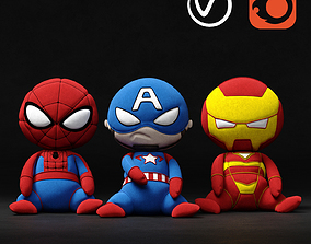 3D model Marvel soft toys superheroes