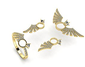 Angel wing gold silver set 3D printing model