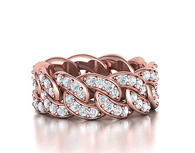 DIAMOND Cuban Link Chain Ring Stackable 3D print model 4