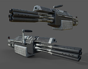 Futuristic minigun heavy weapon 3D model