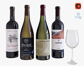 Wine bottle set 11 3D