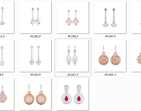 Collection 17 Women earrings 3dm stl render details
