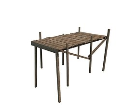 Wood pier video 3D model low-poly