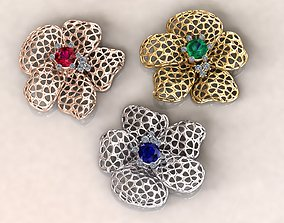 Wireframe Flowers Flower Charm Pendant 3D printable model