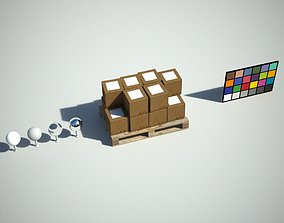 Pallet and Boxes 3D model