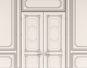 Provence double doors with panels 3D model