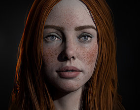 3D asset Realistic female real-time head