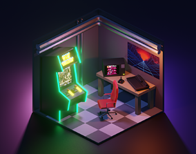 3D asset Arcade scene