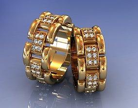 3D printable model Woman Link Chain Diamond Wedding Ring