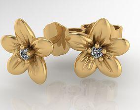 Diamond flower earing 3D print model