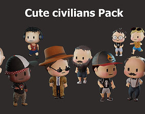 Cute civilian boys pack 3D asset