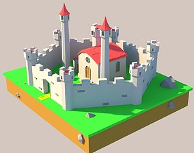 3D model low poly castle