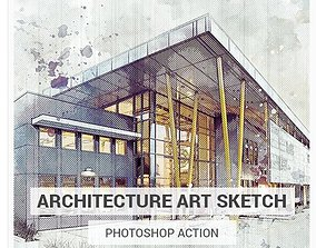 3D Architecture Sketch Photoshop Action -