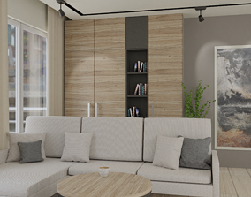 Modern realistic interior guest room 3D model