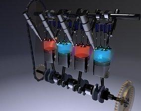 Internal-combustion engine Engine Inline Four-Cylinder 3D