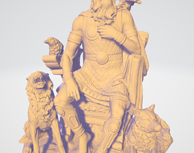 Odin Sitting With Wolves And Crows 3D printable model