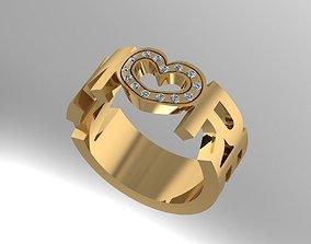 Ring with diamonds 3D print model jewel