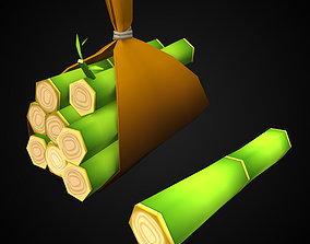3D model Toon style hand painted Bamboo bundle