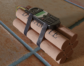 3D model realistic dynamite bomb