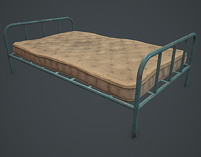 3D Old metal bed frame and mattress PBR VR