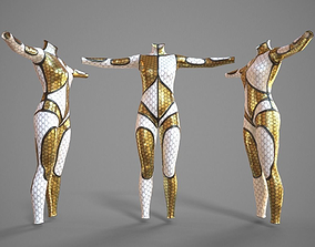 White and Gold Deluxe Catsuit 3D asset