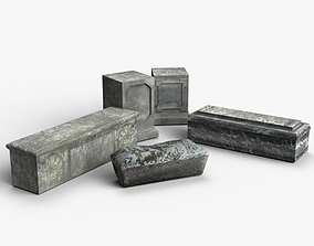 3D model Medieval Tombstones Low-poly